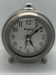 NEW Elgin Brushed Silver Case Table Alarm Clock Quartz Analog Accurate Qua