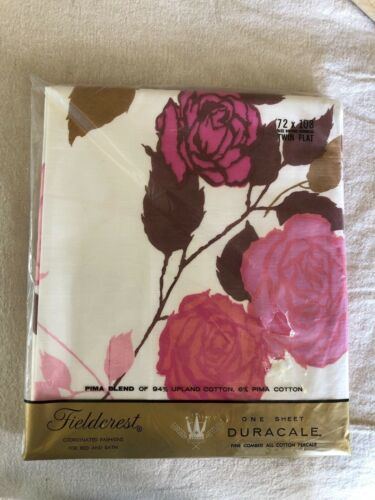 pair of Vintage Fieldcrest ROSE MADERNE twin Size Flat Sheets NEW IN PACKAGE