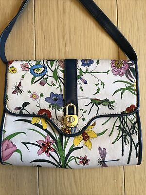 GUCCI Stunning Vintage Authentic Flora Pint Floral Crossbody Flap Bag