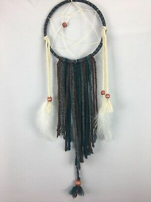 Brown teal grey and tan dreamcatcher boho room decor wedding festival decor
