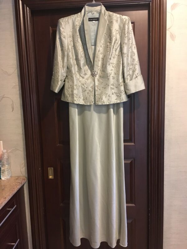 NEW Cachet Mother Of The Bride Gown Dress Beaded Jacket Set Mint Light Green 6