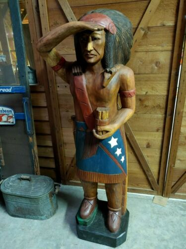 Life Size Wooden Carved Native American Indian Cigar Store Indian