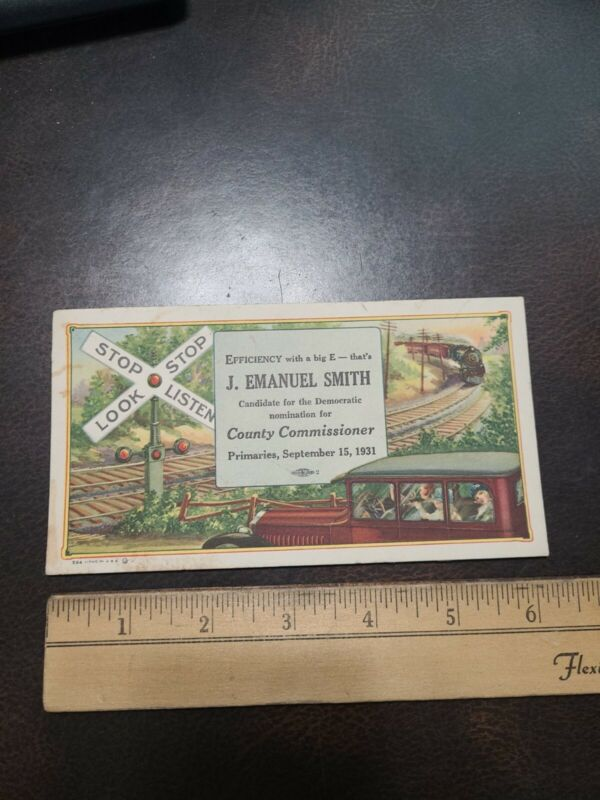 1931 York Co. Pa Smith For Commissioner Blotter Card Early Automobile Locomotive