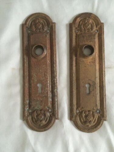Antique Pair Steel Door Knob Backplates Old Ornate Vtg Hardware 221-20E