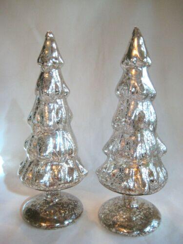 "PAIR SILVER MERCURY STYLE GLASS CHRISTMAS TREES PAIR HOLIDAY DECOR 9 1/2""  TALL"