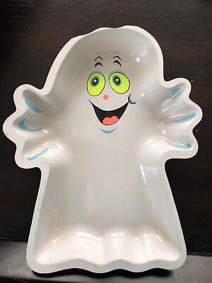 "Vtg 12"" Halloween Ghost Plastic Snack Plate Platter Neon Retro 80's](Halloween Snack Platters)"