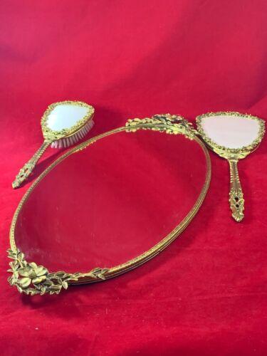 Vintage Globe Gold Dogwood Oval Vanity Tray, Brush & Beveled Hand Mirror