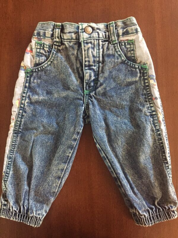 Vintage 80s OshKosh Jeans 12 Mo USA Acid Stretch Waist Cuffs Captain OshKosh