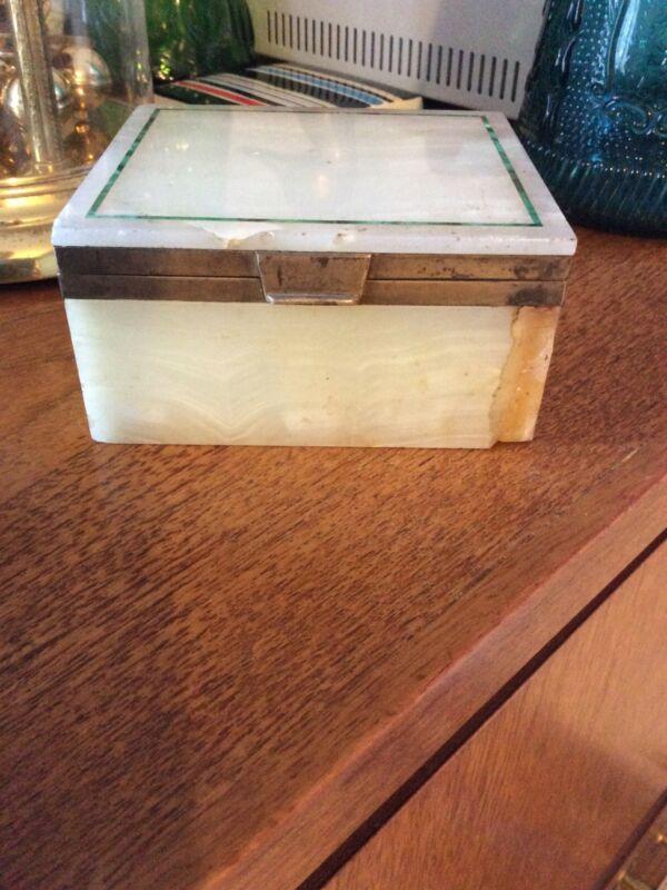 Asprey Silver Mounted Art Deco Onyx And Malachite Trinket Box