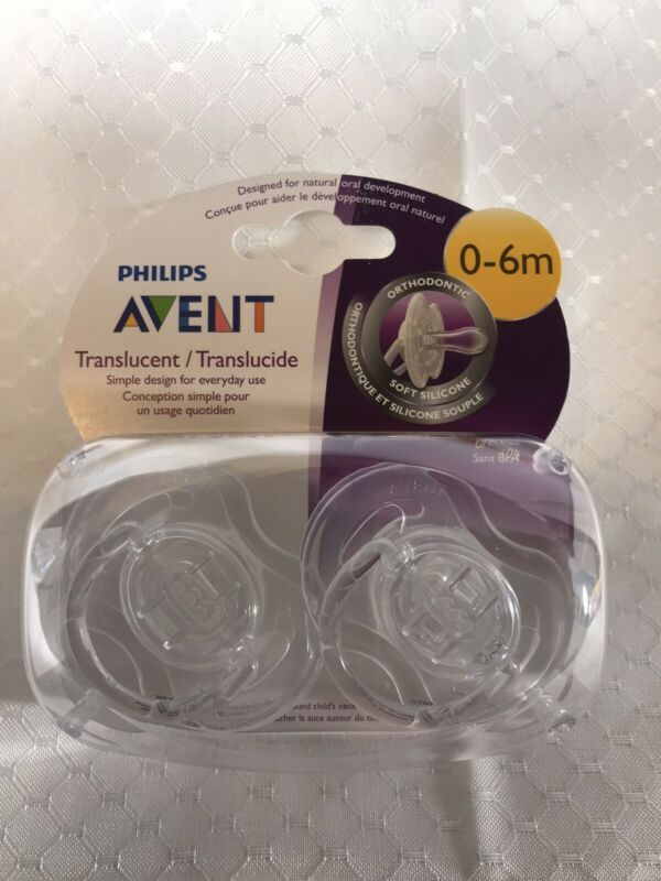 Philips Avent Baby Translucent Orthodontic Pacifier 2 Pack 0-6 Months Unisex