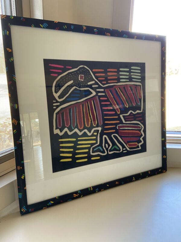Framed Kuna Mola Bird Indigenous Panamanian Needlework Multicolor Textile Folk