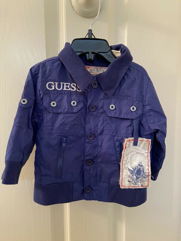 Guess Jeans Denim Company Baby Boys Blue Nylon Mesh Lined Jacket Size 6-9 Months