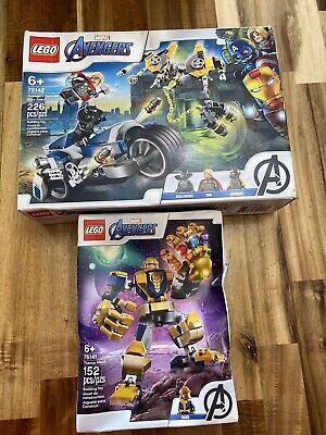 LEGO Marvel Avengers Lot 2x 76141 76142 Thanos Mech Speeder Bike Attack Thor
