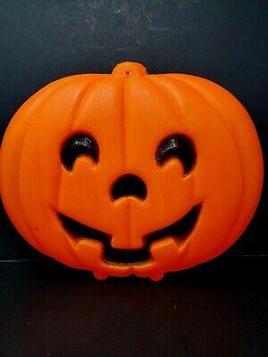 Vtg Halloween Blow Mold Jack O Lantern Pumpkin Blow Mold Lighted Window Hanging
