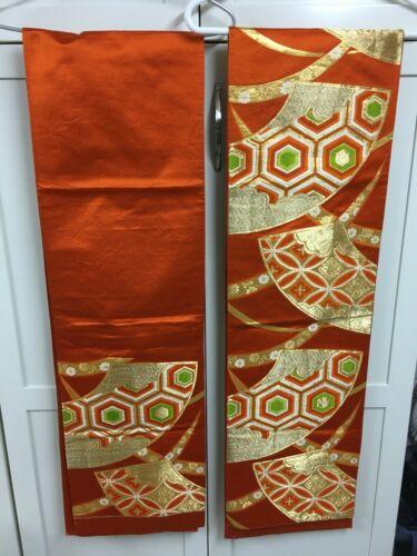 2 Vintage Japanese Obi Silk Brocade Wall Hangings Drapes Orange Gold