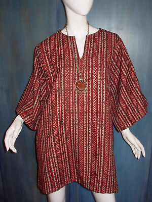 SILVIA'S COSTUMES Hollywood ETHNIC PRINT Caftan OVERSIZE Halloween TUNIC Dress - Ethnic Halloween Costumes