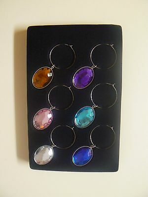 Giftcraft JEWEL WINE CHARMS Set of 6 Boxed NEW Great Gift Bling Accent for Glass