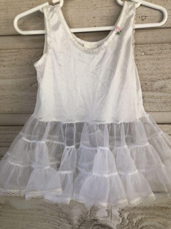 Vintage White Nylon Crinoline Petticoat Full Circle Baby Slip – Size 24 Months