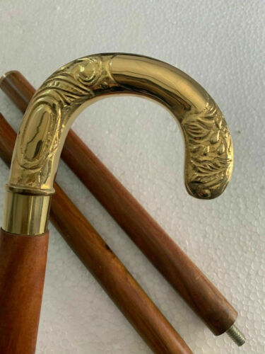 Golden Polished Brass Handle Wooden Canes Handmade Walking Stick Cane Style Gift