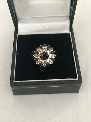 Vintage 9ct Gold Garnet & Spinel Stone Cluster Ring - Size 'N' - London 1973