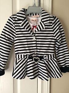 Black & White Striped Jacket & White T-Shirt - Size 4 T