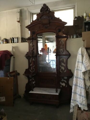 Antique Walnut Victorian Hall Tree with drawer and marble shelf at base