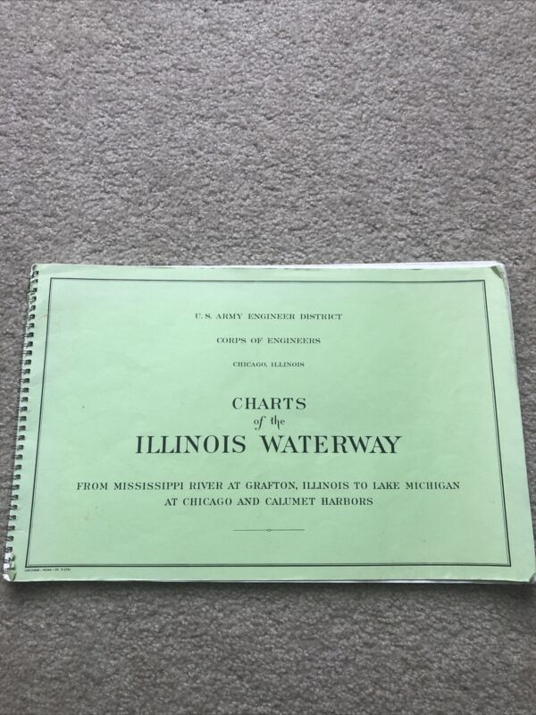 Vintage Charts of the Illinois Waterway U.S. Army Corps Engineers 1974 Chicago