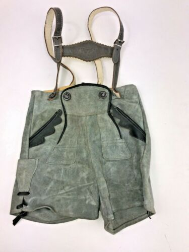 German Lederhosen Suede Child Moose Suspenders Traditional Oktoberfest 2
