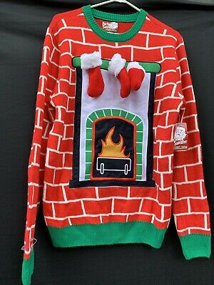 Party Sweater Dec 25th Christmas Fireplace Detachable Stockings Pullover Mens M](Fireplace Sweater)