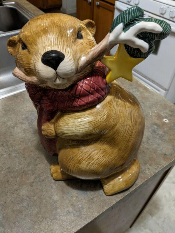 Groundhog Holiday Christmas Cookie Jar