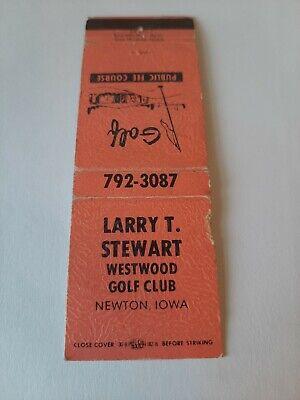 Vintage Westwood Golf Corse Newton Iowa Stewart Golf Pro Matchbook Cover