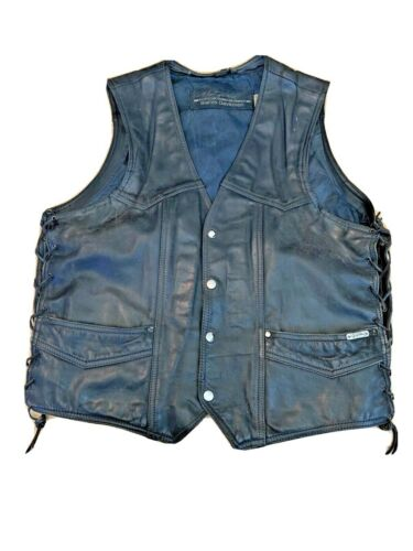 Harley Davidson by Hein Gericke Mens Large Distressed Vintage Leather Hog Vest