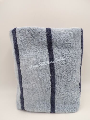 Pottery Barn Teen Quick Dry Organic Striped Hand Towel Faded Navy Blue #7625N