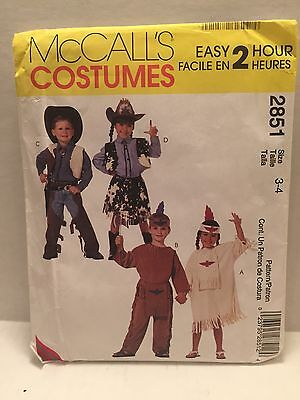 McCalls 2851 Halloween Costume Pattern Cowboy Woody Boy Jessie Cow Girl Native
