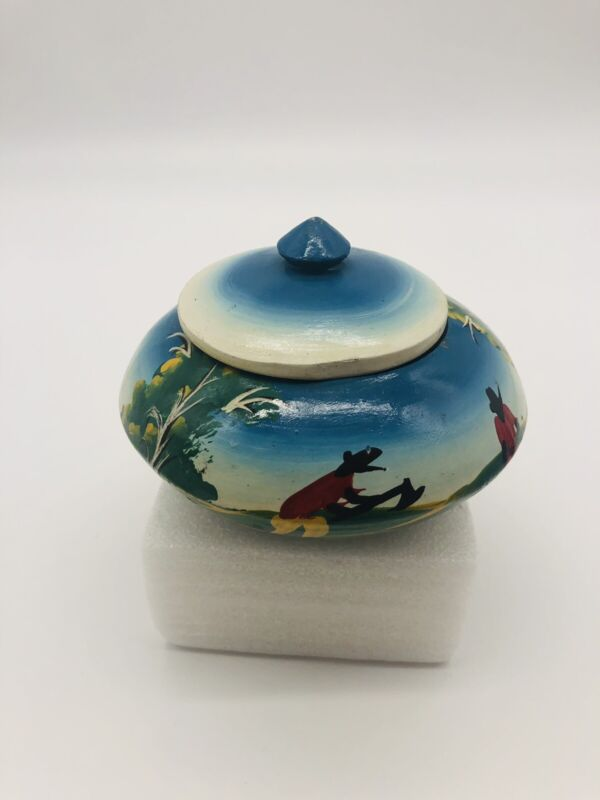 Wood Trinket Box with Lid Hand Painted