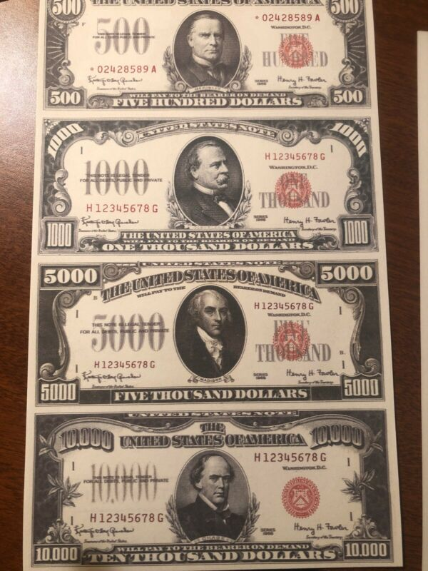 Copy 1966 Red Seal $500-$10,000 Uncut Reproduction Currency Money Sheet Fantasy