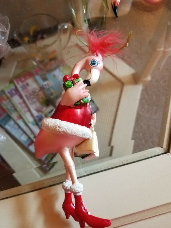 Pink Flamingo Christmas Shopping in her Red Coat and Hat ~ NWT