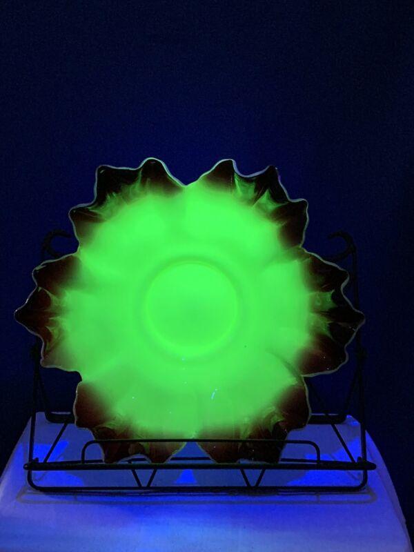Antique Victorian Uranium Custard Glass Ruffle Blood Red Rim Bowl Bridal Basket