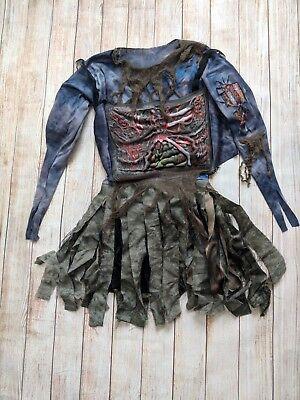 Zombie Costume Girls Youth Halloween Dress Long Sleeve w/Belt L Large 12-14 - Long Halloween Zombie Girl