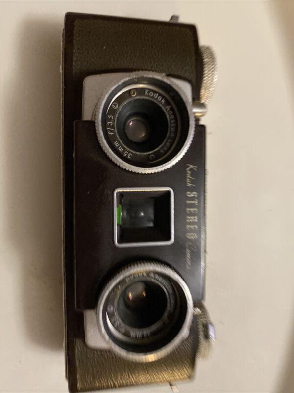 KODAK STEREO 35mm film CAMERA  Leather Case ANASTON Lens 3-D