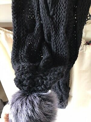 Hand Knitted Chunky Wool Scarf Black Large Long British Made Fur Pom