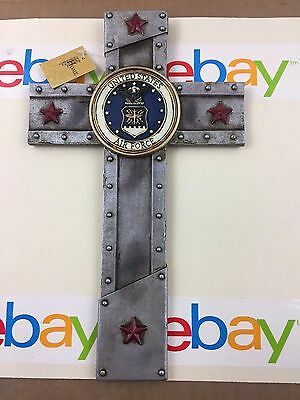 "U.S AIR FORCE WITH EMBLEM WALL CROSS 12""X7"" NEW IN BOX"