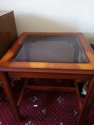 Occasional Table/Coffee Square Glass Centre Walnut Colour