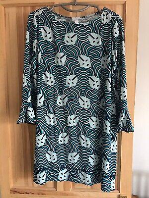 Karen Walker Alien Print T Shirt Dress Flutter Sleeve Blue Size 12 Small Mini