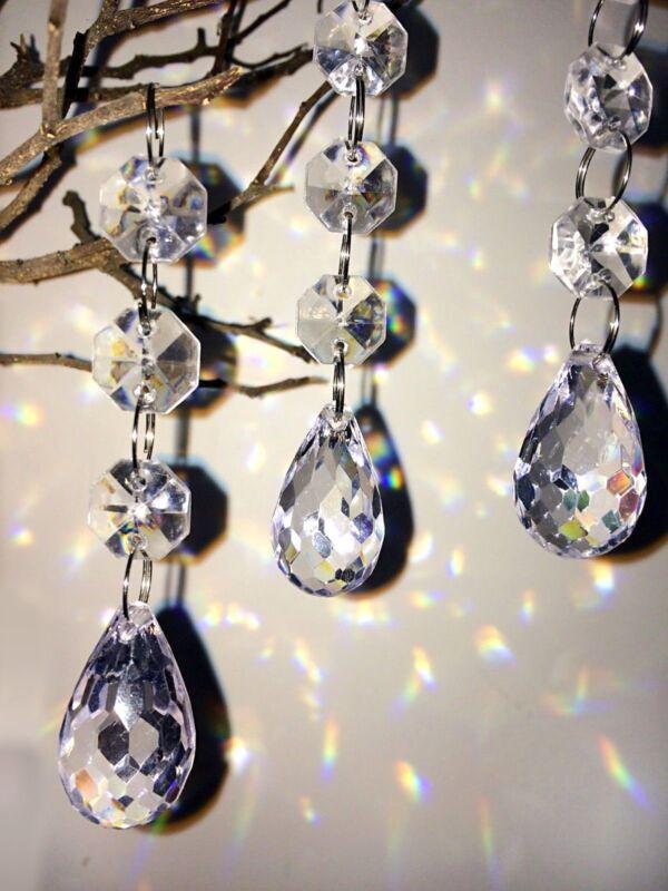30 Christmas Clear Acrylic Crystal Glass Ball Ornaments Holiday Craft Decoration