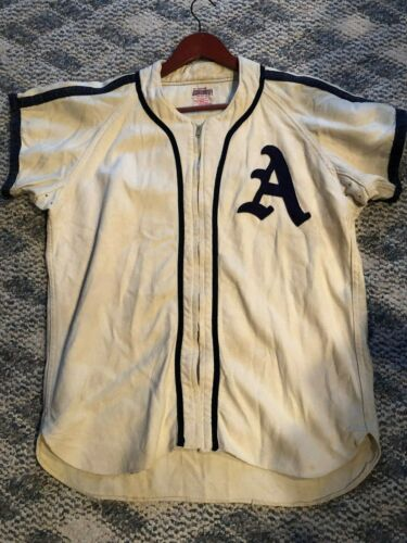 "Vintage Baseball Uniform ""a"" Wth A Zipper Jersey And Pants Very Nice"