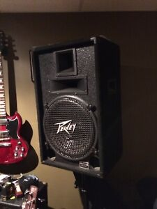Two vintage Peavey Pa speakers, stands and Fender Pa $200