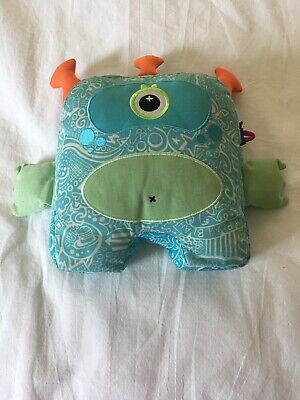 Inkoos Blue Glow in the Dark Monster Draw On Wash Out Plush Stuffed Animal EUC