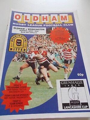 18.9.88 Oldham v Workington Town programme Lancs Cup
