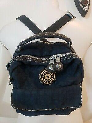 Kipling Crossbody Backpack Satchel Purse Womens Multi-Pocket Blue Nylon Canvas